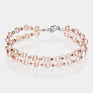 Double Bracelet With Pink Pearls & Copper Beads Silver-plated stainless steel
