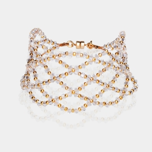 Wide Swarovski Crystal Bracelet Gold-plated stainless steel