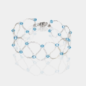 Silver Bracelet With Aquamarine Swarovski Crystals Silver-plated stainless steel