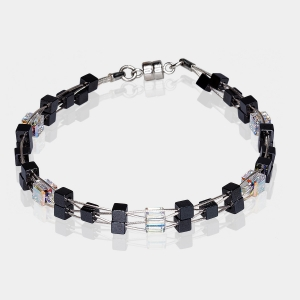 Woven Bracelet With Swarovski Crystals and Hematite Beads Silver-plated stainless steel