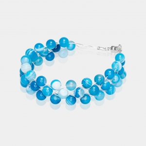 Silver Bracelet With Blue Agate Silver-plated stainless steel