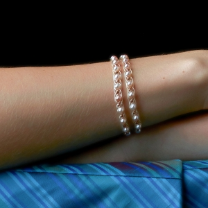 Double Bracelet With Pink Pearls & Copper Beads Freshwater pearls