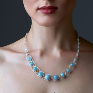 Silver Necklace With Aquamarine Silver-plated stainless steel