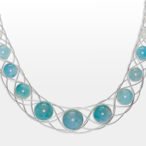 Silver Necklace With Aquamarine Jewelry,Necklaces