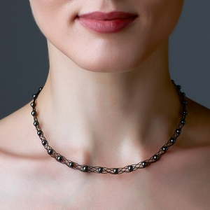 Black Choker Necklace With Hematite Stone Black stainless steel
