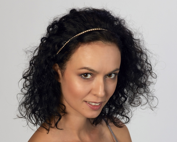 White Pearl Headband Gold-plated stainless steel