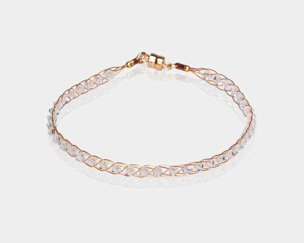 Gold Bracelet With Crystals Gold-plated stainless steel