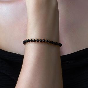 Gold Bracelet With Black Onyx Onix
