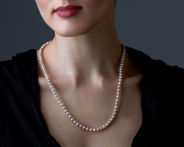 Pink Pearl Necklace Silver-plated stainless steel