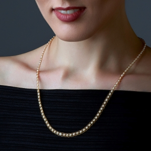 White Pearl Necklace Gold-plated stainless steel