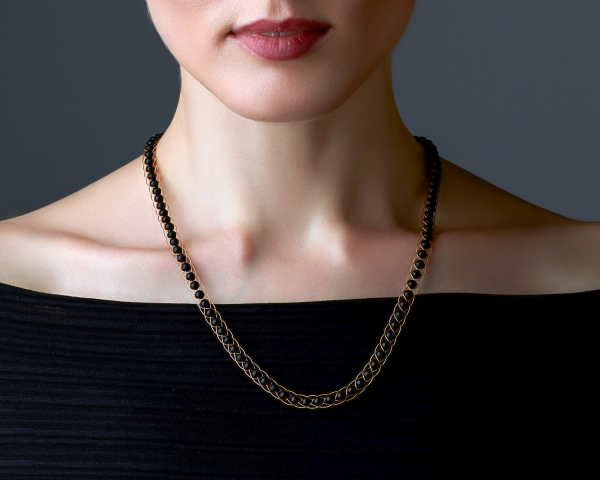 Gold Necklace With Black Onyx Gold-plated stainless steel