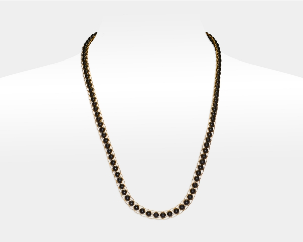 Gold Necklace With Black Onyx Onix