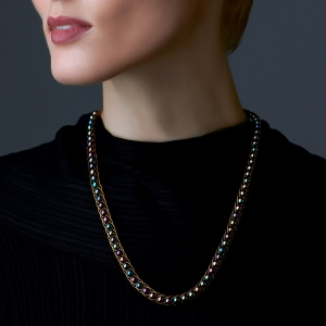 Black Pearl Necklace Gold-plated stainless steel