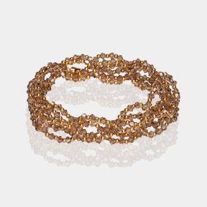 Greige Swarovski Crystal Headband Gold Beige