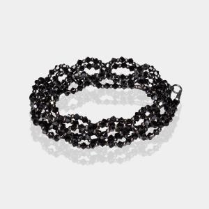 Black Crystal Headband Silver Black