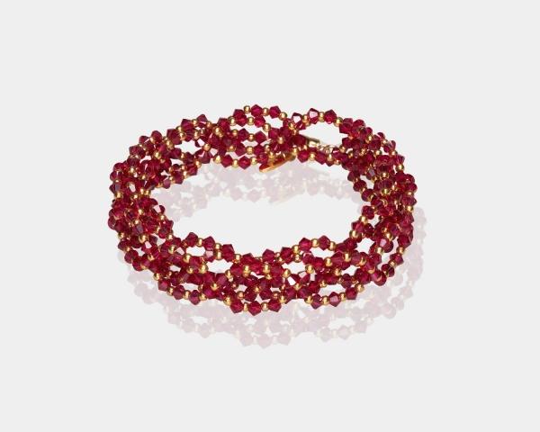 Ruby Swarovski Crystal Headband Gold Red
