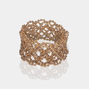 Wide Swarovski Greige Crystal Headband Gold Beige