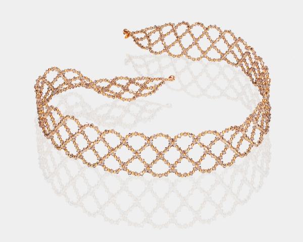 Wide Swarovski Greige Crystal Headband Swarovski crystals