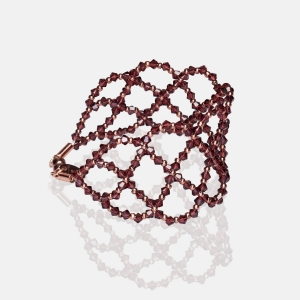 Wide Burgundy Swarovski Crystal Bracelet Silver-plated stainless steel
