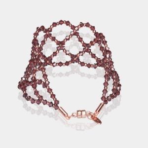 Wide Burgundy Swarovski Crystal Bracelet Magnetic clasp