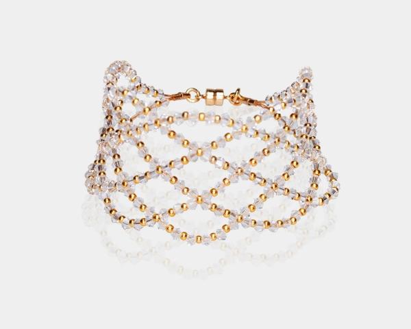 Wide Swarovski Crystal Bracelet Gold-plated stainless steel