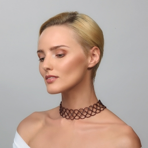 Wide Burgundy Swarovski Crystal Choker Necklace Silver-plated stainless steel