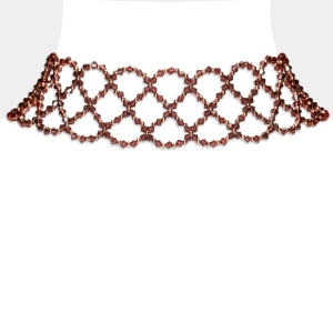 Wide Burgundy Swarovski Crystal Choker Necklace Swarovski crystals