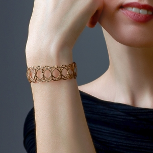 Gold and Black Woven Bracelet Black stainless steel