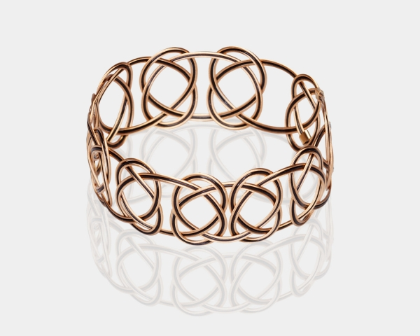 Gold and Black Woven Bracelet Gold-plated stainless steel