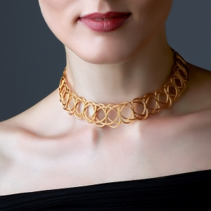 Gold Woven Choker Necklace Gold-plated stainless steel