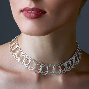 Silver Woven Choker Necklace Silver-plated stainless steel