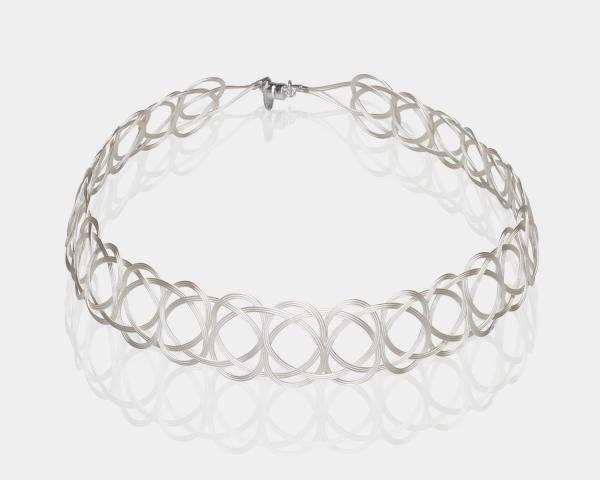 Silver Woven Choker Necklace