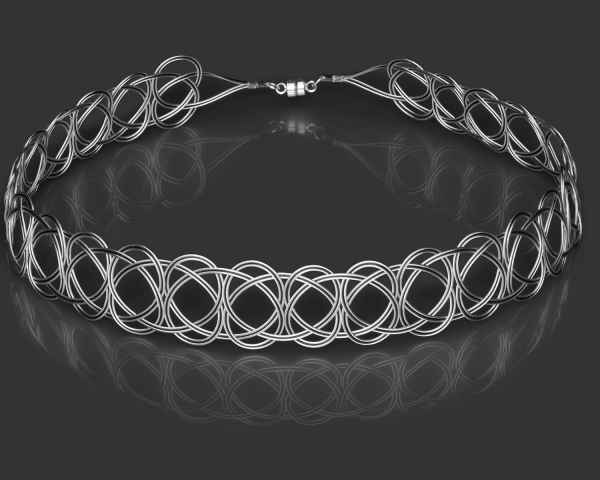 Silver and Black Woven Choker Necklace Black stainless steel