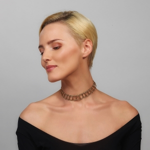 Gold and Black Woven Choker Necklace Gold-plated stainless steel