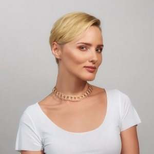 Gold and Silver Woven Choker Necklace Gold-plated stainless steel