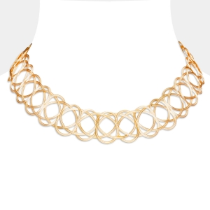 Gold and Silver Woven Choker Necklace Silver-plated stainless steel