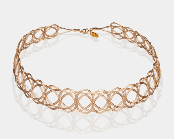 Gold and Silver Woven Choker Necklace