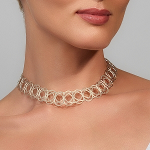 Silver and Gold Woven Choker Necklace Silver-plated stainless steel
