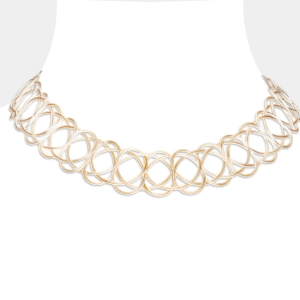 Silver and Gold Woven Choker Necklace Gold-plated stainless steel