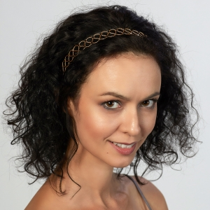 Gold Headband With Swarovski Black Crystals Gold-plated stainless steel