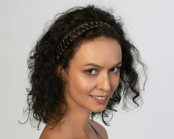 Gold String Headband With Greige Swarovski  Crystals Gold-plated stainless steel