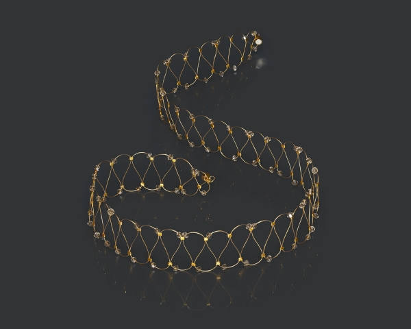 Gold String Headband With Greige Swarovski  Crystals