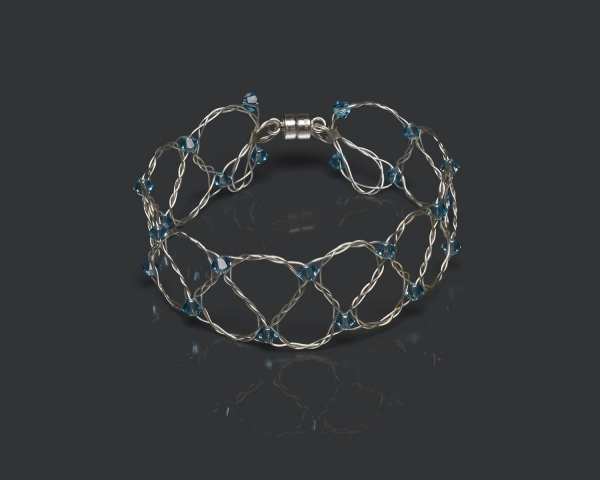 Silver Bracelet With Aquamarine Swarovski Crystals Magnetic clasp