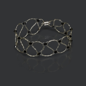 Silver Bracelet With Jet Swarovski Crystals Silver-plated stainless steel