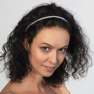 Jeweled Headband With White Swarovski Crystals Silver-plated stainless steel
