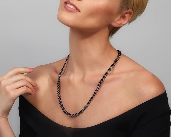Jeweled Headband With Black Swarovski Crystals Magnetic clasp