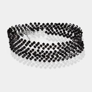 Jeweled Headband With Black Swarovski Crystals Silver Black