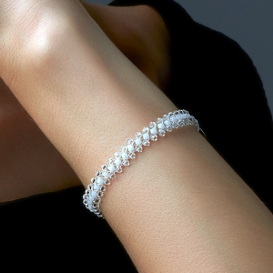 Jeweled Bracelet With White Swarovski Crystals Swarovski crystals