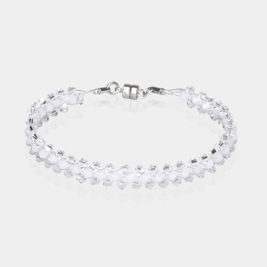 Jeweled Bracelet With White Swarovski Crystals Silver-plated stainless steel