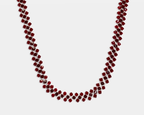 Jeweled Necklace With Ruby Swarovski Crystals Jewelry,Necklaces